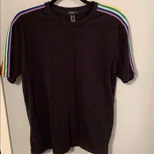 Black tshirt with rainbow stripes